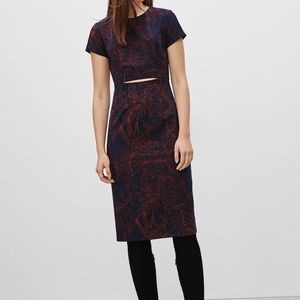 Aritzia Navy Floral Prosper Cut Out Dress